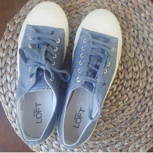 Ann Taylor LOFT denim tie up Oxford sneakers 7 EUC